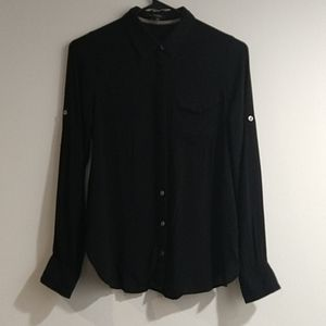 Foreign Exchange black blouse button up